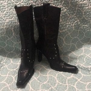 Kenneth Cole 9.5 leather and rhinestone boots
